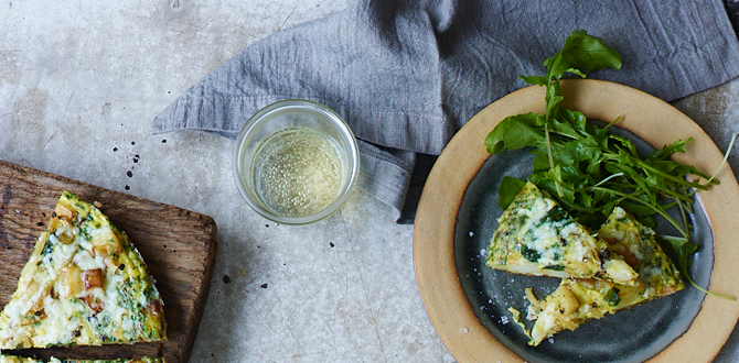 Spanish Tortilla with Spinach and Manchego Cheese