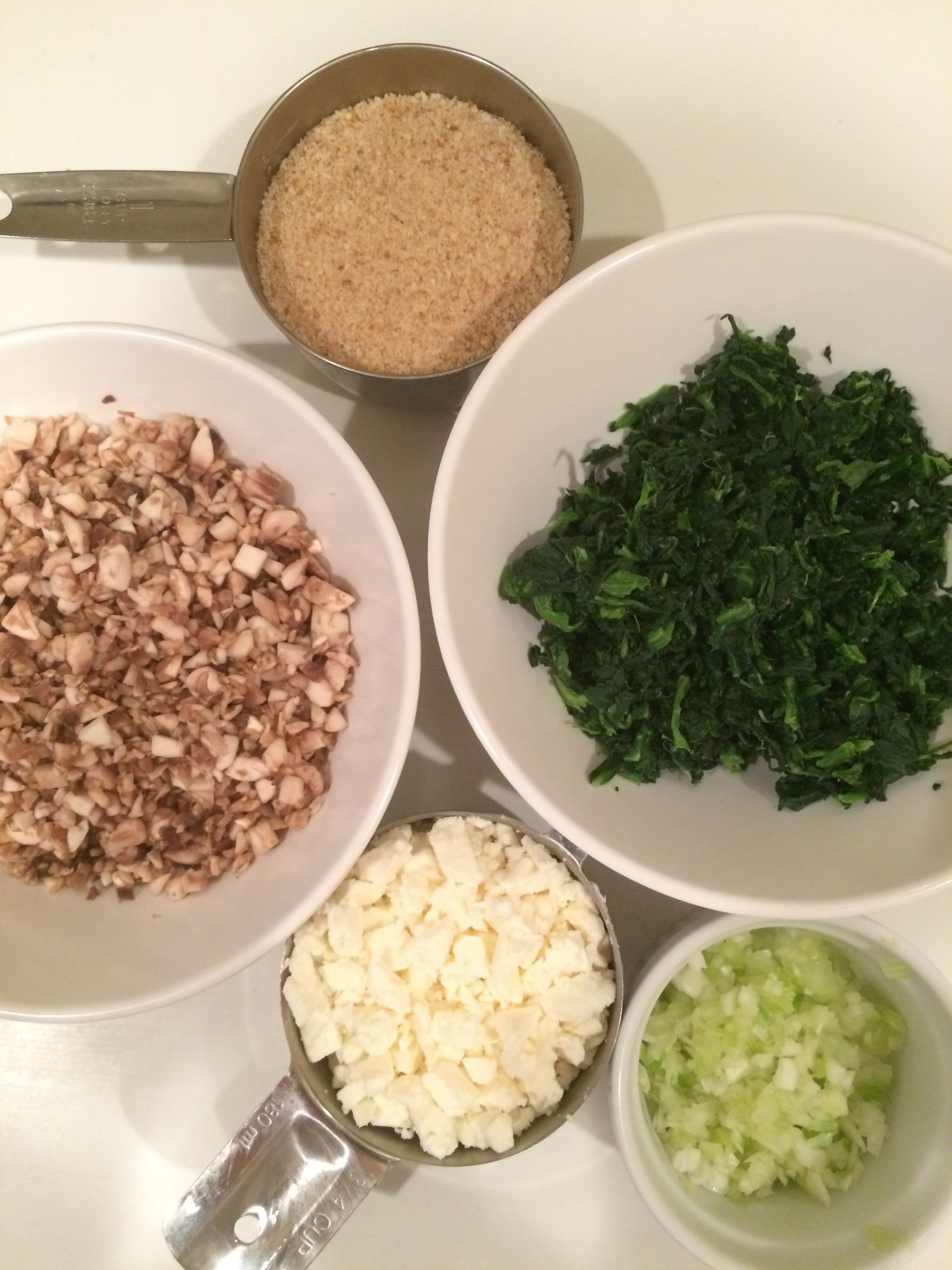 Ingredients for Spinach, Mushroom and Feta CutletsMG_2120