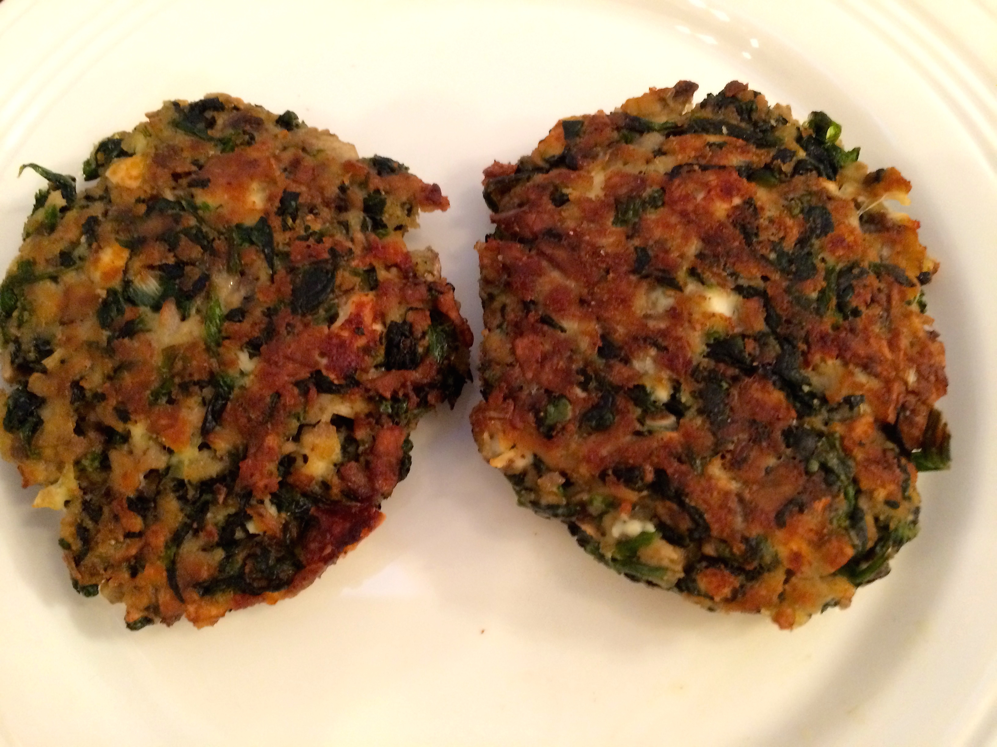 Plated Spinach, Mushroom and Feta cutlets