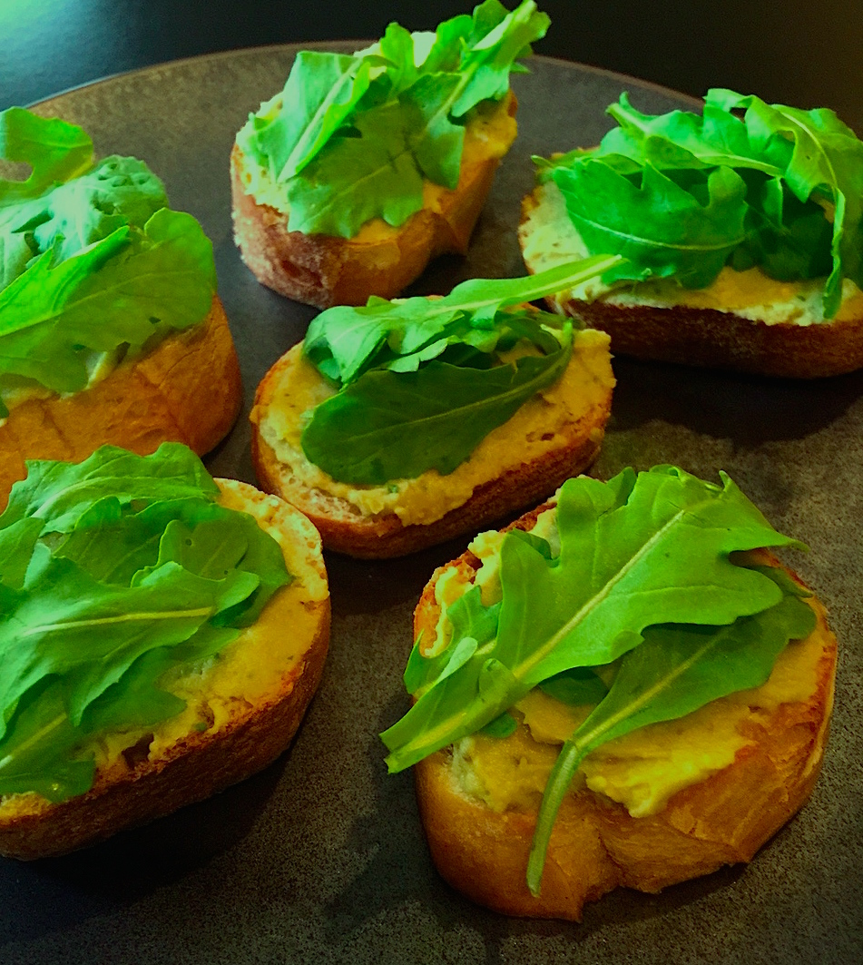 Plated Avocado Bruschetta crop