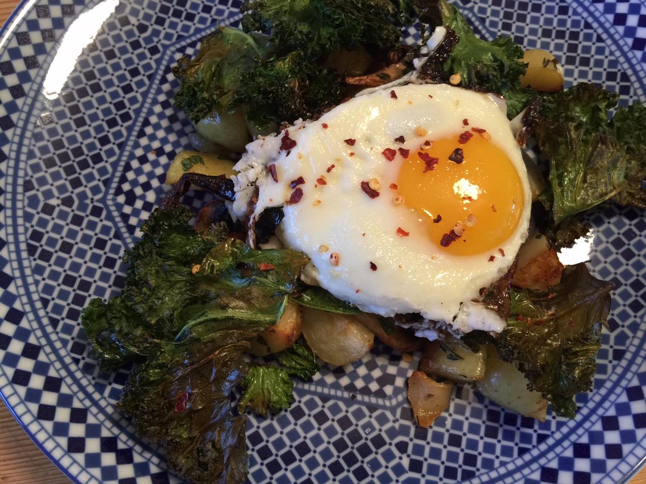 Kale potato hash plated