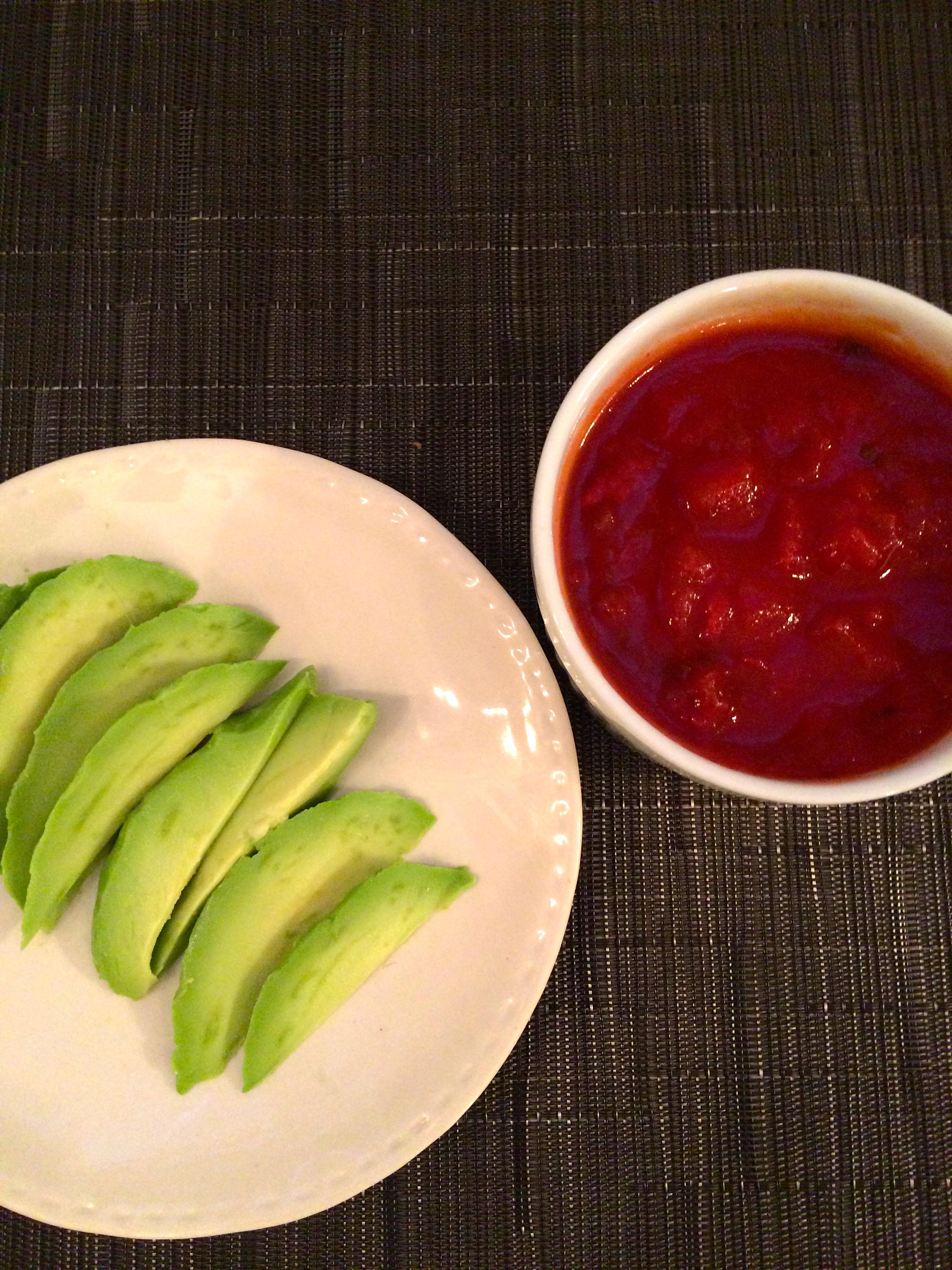 Avocado and salsa for nachos
