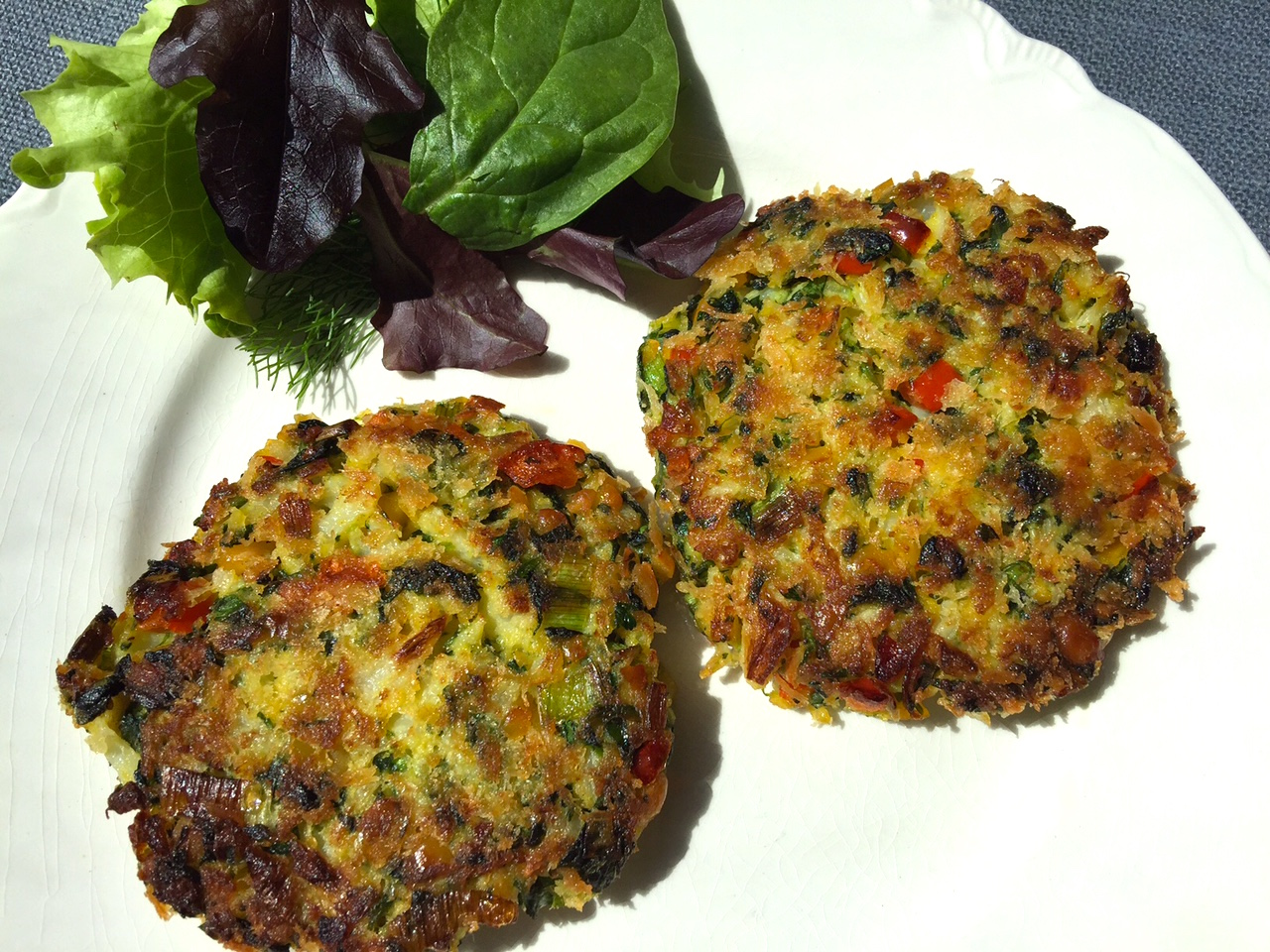 Plated chickpea patties